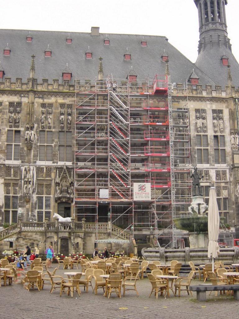 Rathaus Aachen Fassadengerüst